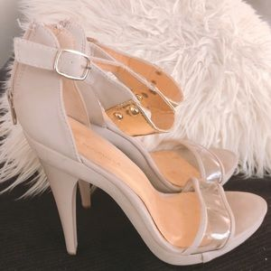 Shoes - Nude clear stiletto high heels size 7.5